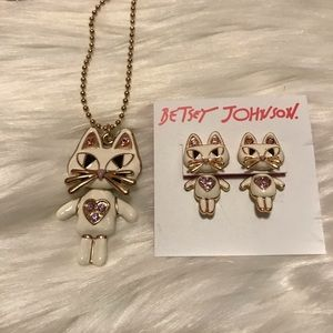 Betsy Johnson  Kitty cat earing&necklace